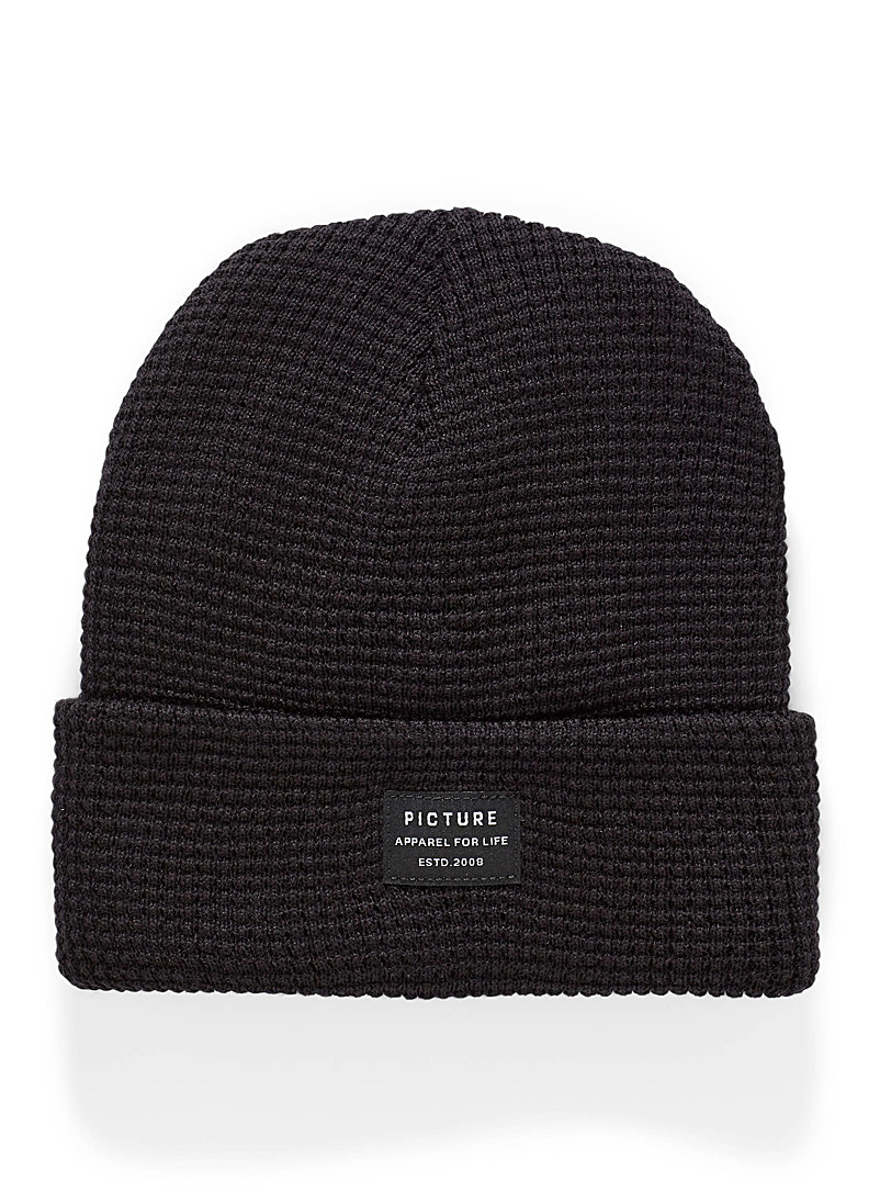 Picture Black York waffle tuque for men