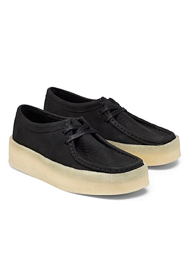 Black Wallabee moccasin platform shoes