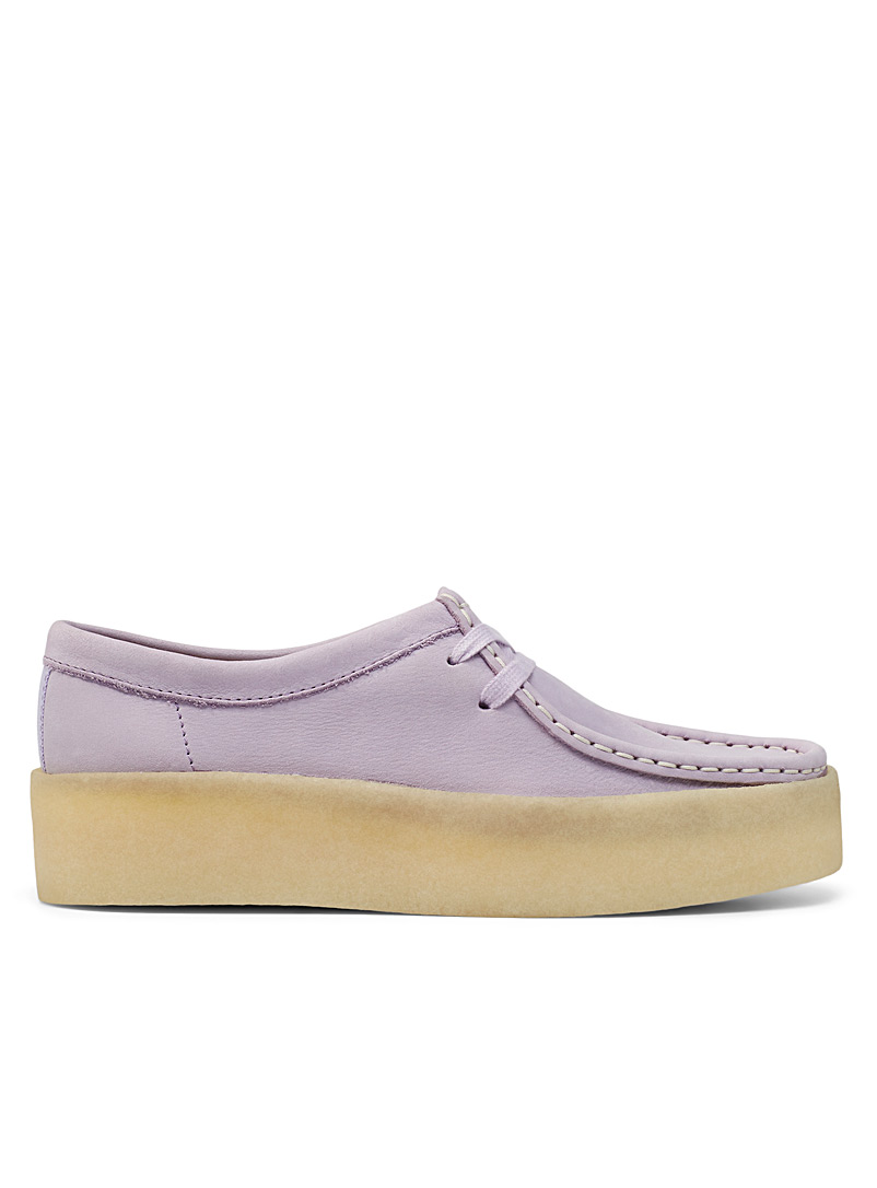Clarks Mauve Wallabee moccasin platform shoes for women