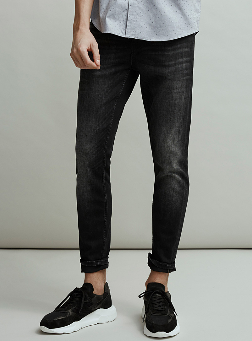 Le 31 Black Faded black stretch jean  Tokyo fit-Skinny for men