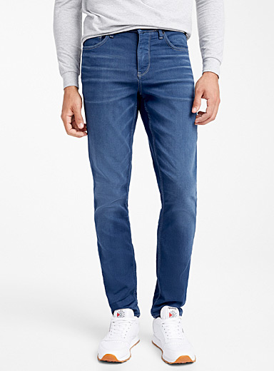 Faded steel-blue pleated jean <br>Stockholm fit-Slim