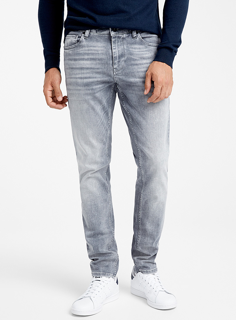 Le 31 Light Grey Whisker wash grey jean  Stockholm fit-Slim for men