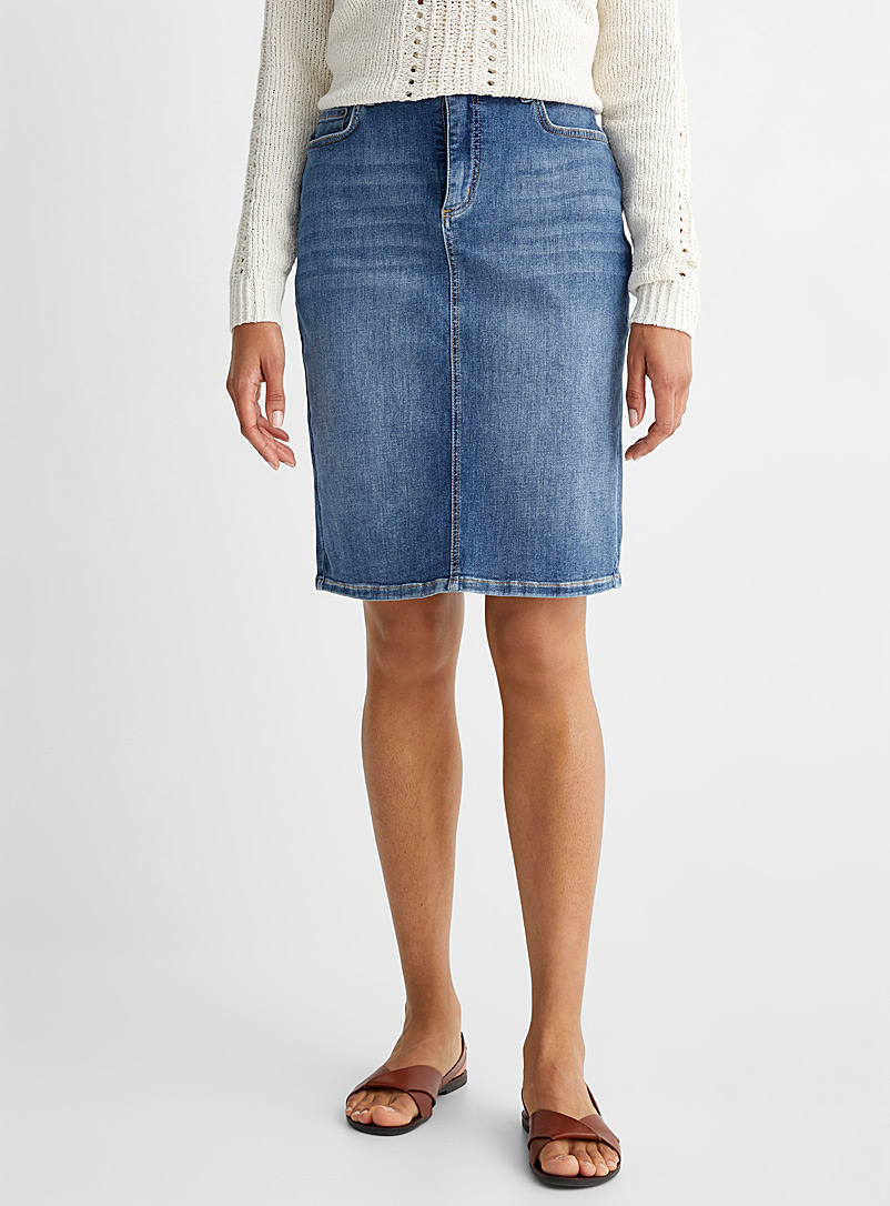 Contemporaine Marine Blue Straight denim skirt for women