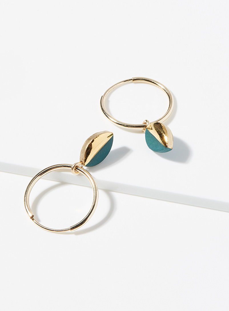 Mier Luo Black Oblong mixed media hoops for women