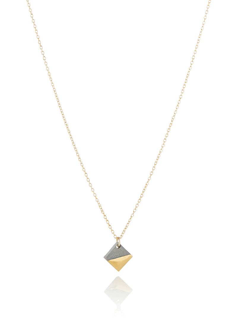 Golden square pendant necklace - Designer Jewellery - Light Grey