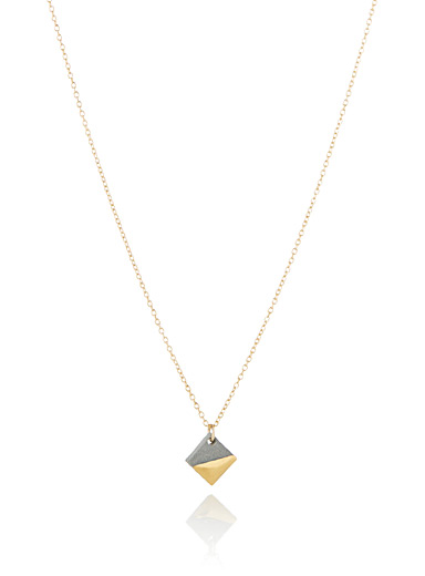Golden square pendant necklace