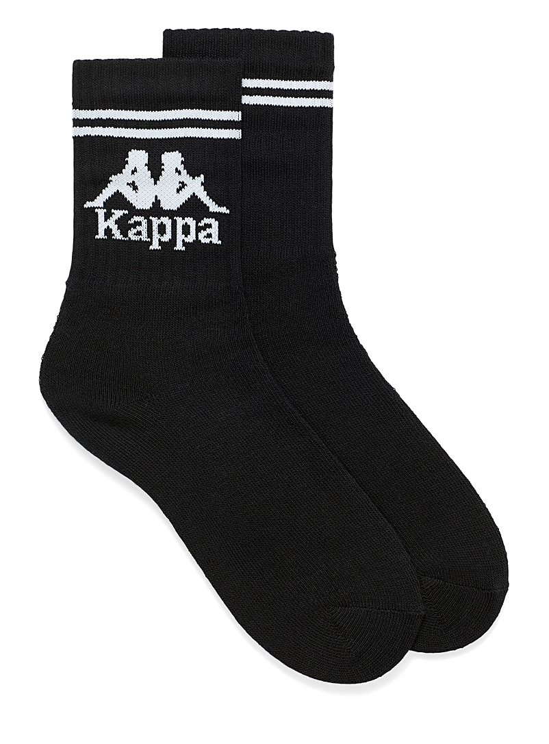 Kappa Black Sporty ribbed logo socks for men