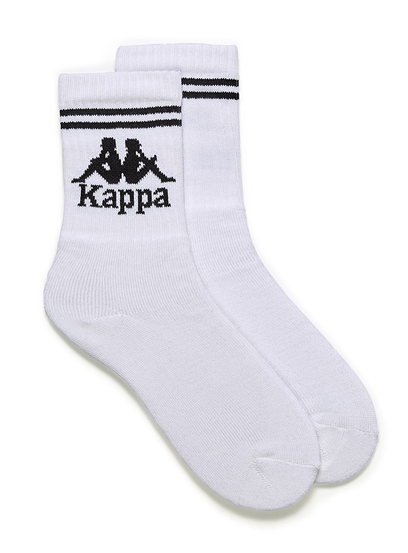 Kappa White Sporty ribbed logo socks for men