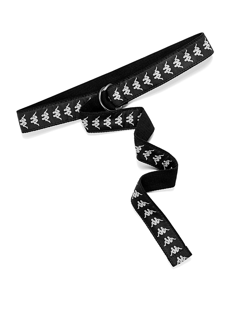 Kappa Black Iconic logo woven belt for men