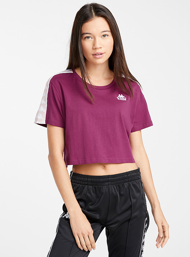 Kappa Patterned White Logo band cropped tee for women