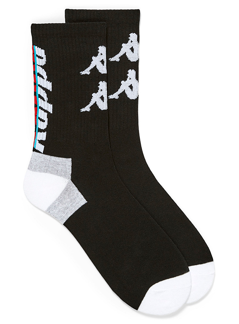 Kappa Black Signature logo ribbed socks for men