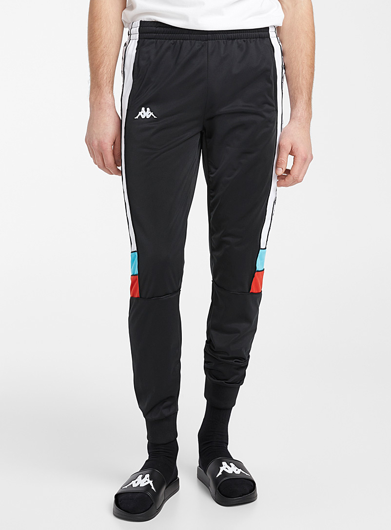 Kappa Black Graphic logo-band track pant for men