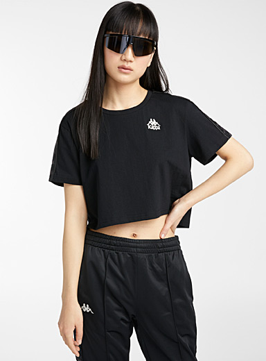 Kappa Black Embroidered logo ultra cropped tee for women