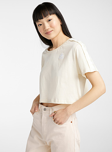 Kappa White Embroidered logo ultra cropped tee for women