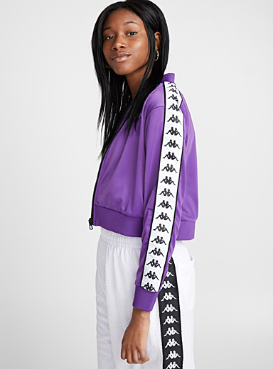 Cropped purple logo jacket
