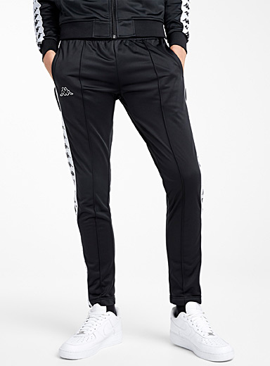 Logo-stripe snap-button track pant