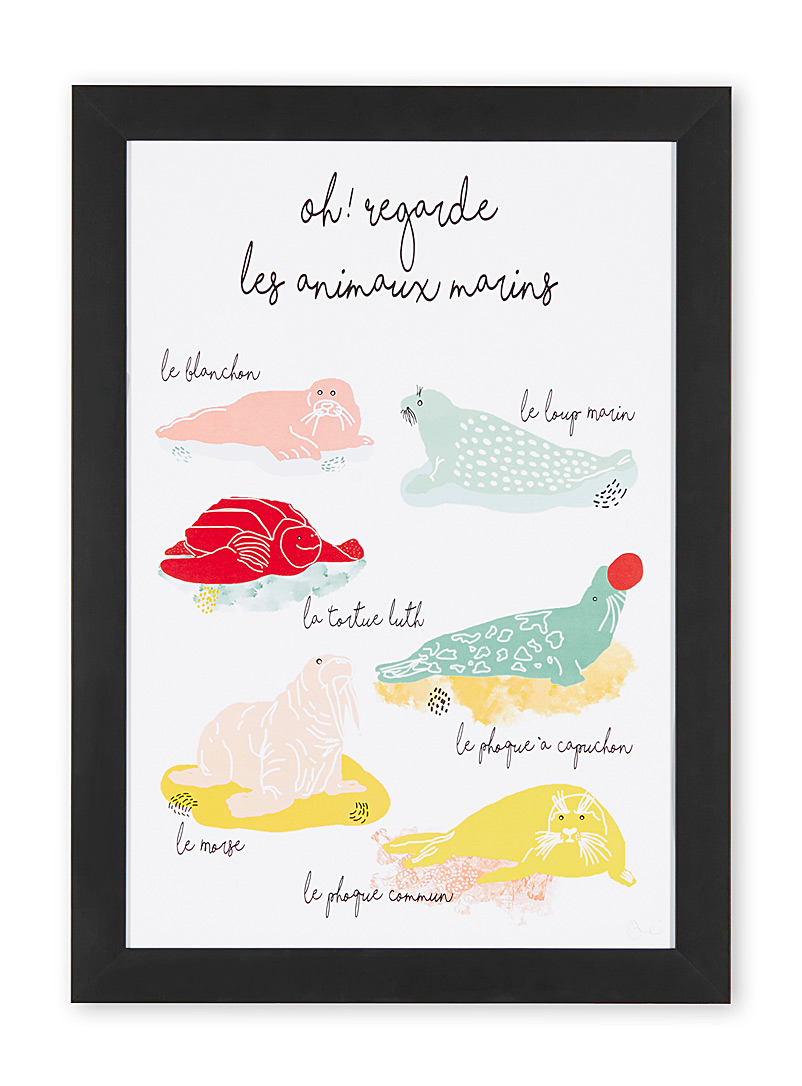 Marine animals art print - À marée basse - Black