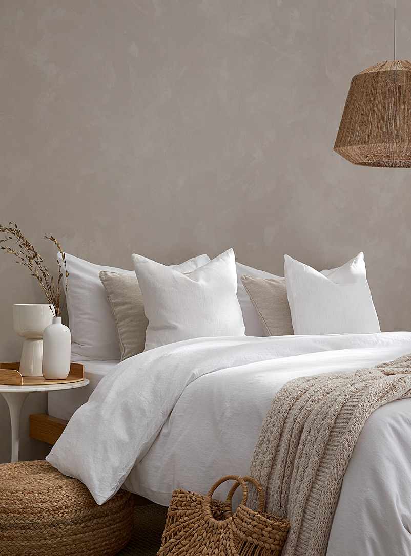 Washed linen and cotton duvet cover set