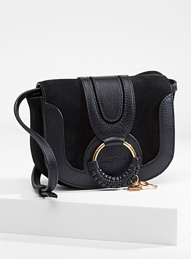 See by Chloé Black Hana suede shoulder bag for women