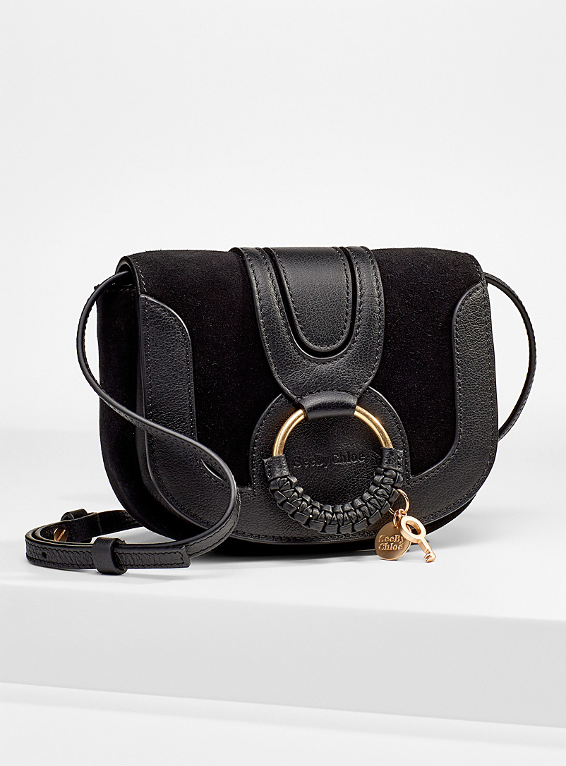 See by Chloé Black Hana leather and suede mini shoulder bag for women