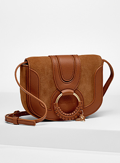 Hana leather and suede mini shoulder bag