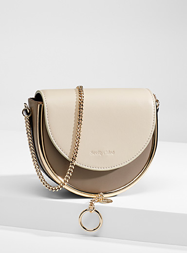 See by Chloé Dark Grey Mara smooth leather shoulder bag for women