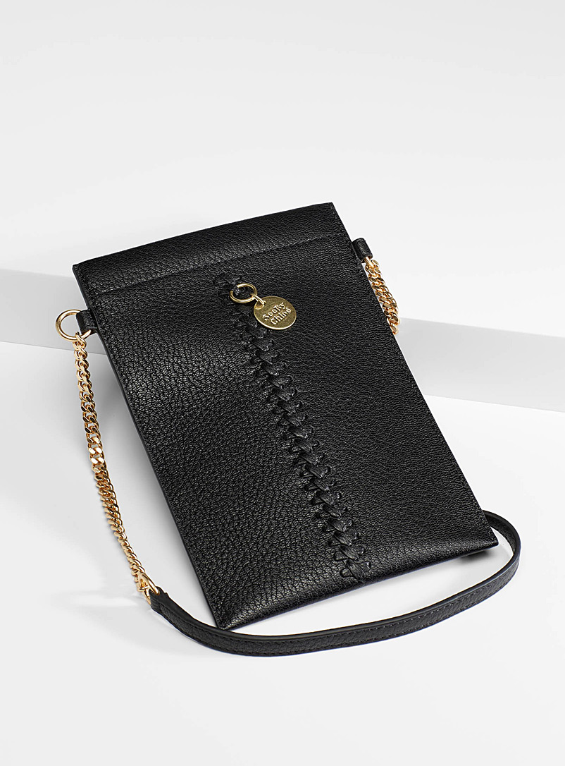 See by Chloé Black Laced phone clutch for women