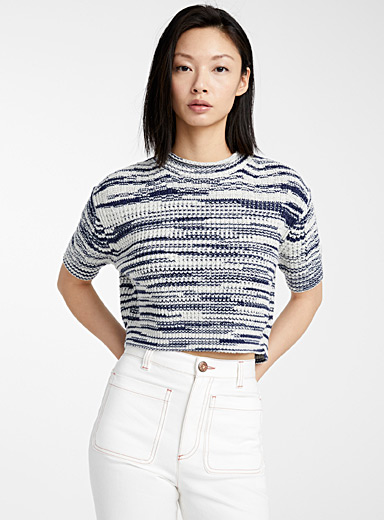 See by Chloé Patterned White Cropped knit sweater for women