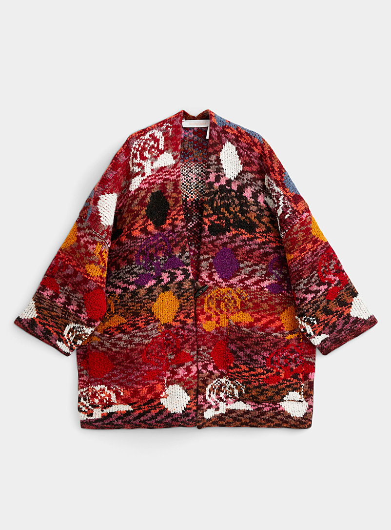 Multicolour jacquard cardigan