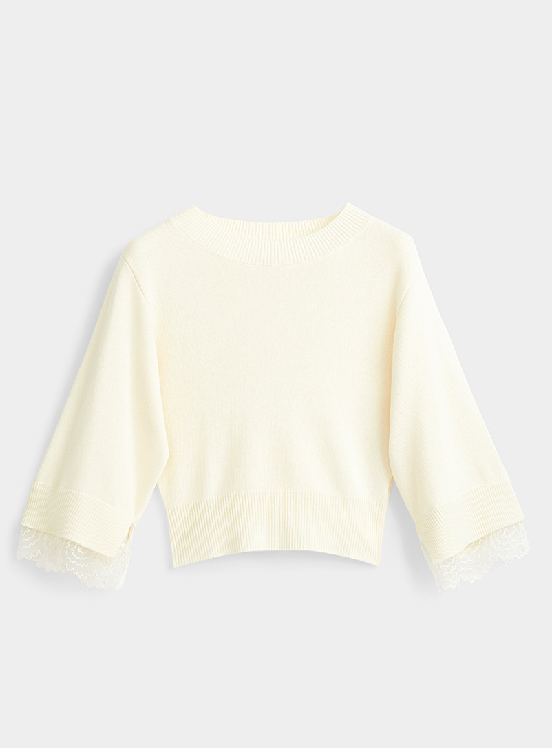 See by Chloé Ivory White Scalloped-lace accent sweater for women