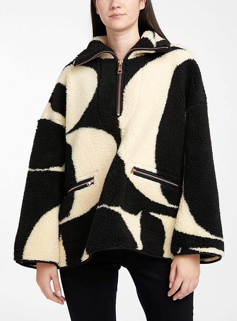 See by Chloé Black and White Oversized letter plush coat for women