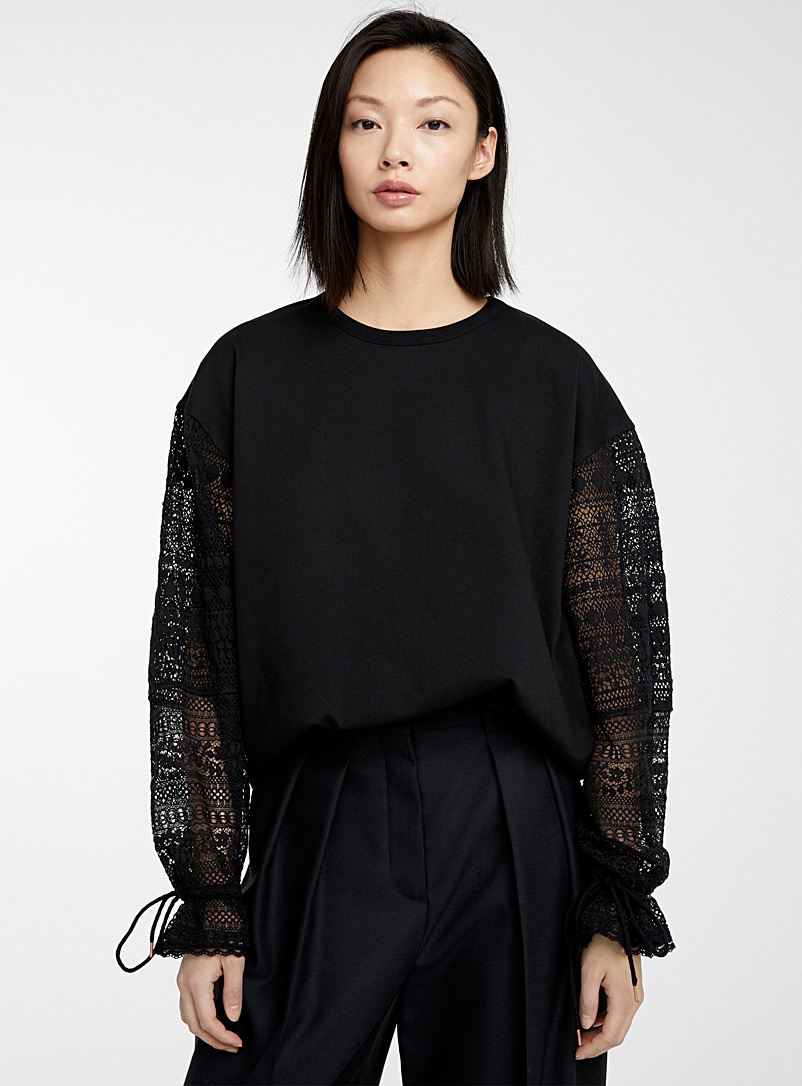 See by Chloé Black Cotton fleece and lace sweatshirt for women