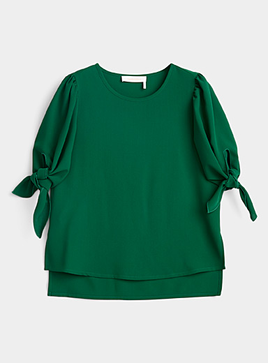 See by Chloé Kelly Green Tie-sleeve blouse for women