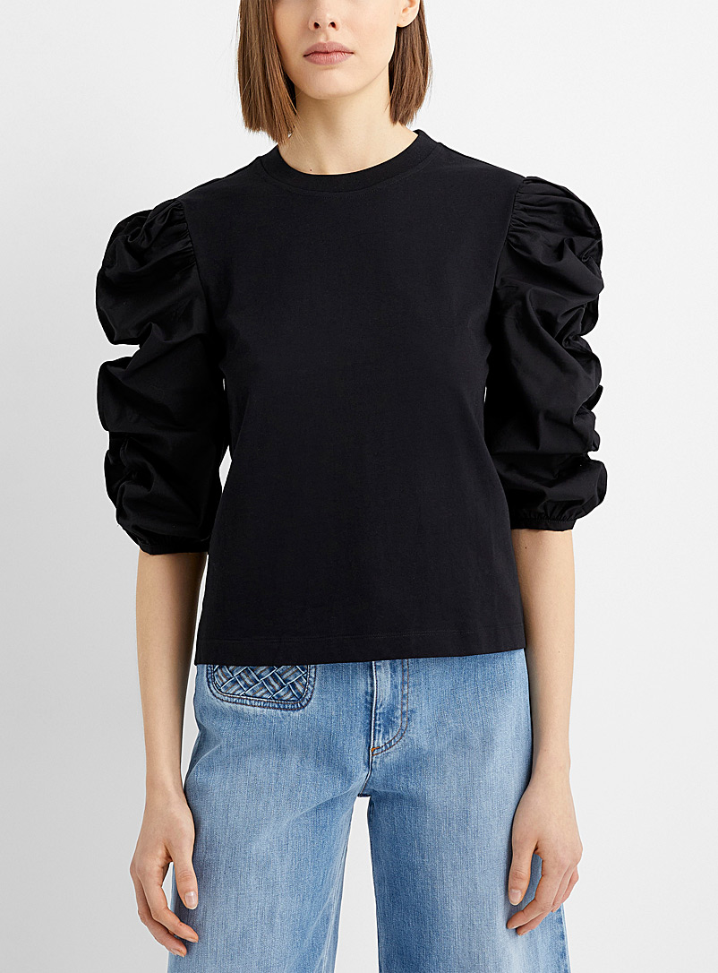 See by Chloé Black Gathered sleeve T-shirt for women