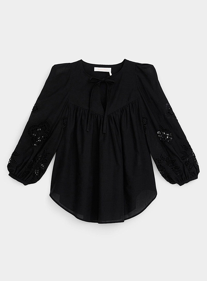 See by Chloé Black Guipure lace floral blouse for women