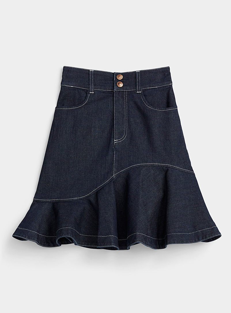 See by Chloé Blue Ruffled denim skirt for women