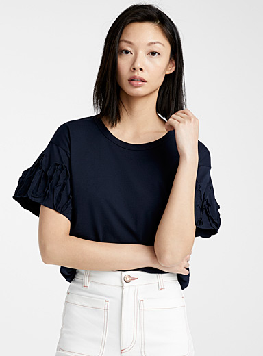 See by Chloé Marine Blue Midnight blue ruffle tee for women