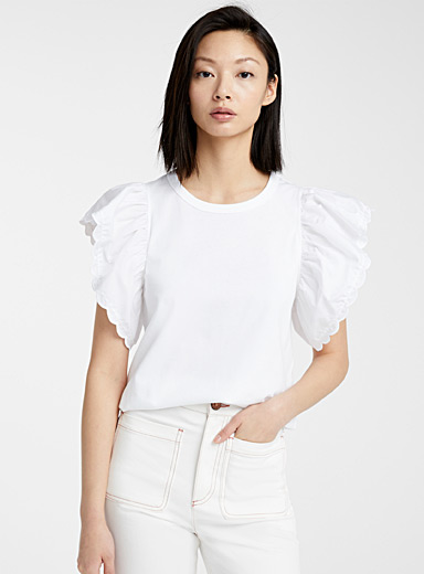 See by Chloé Ivory White Butterfly T-shirt for women