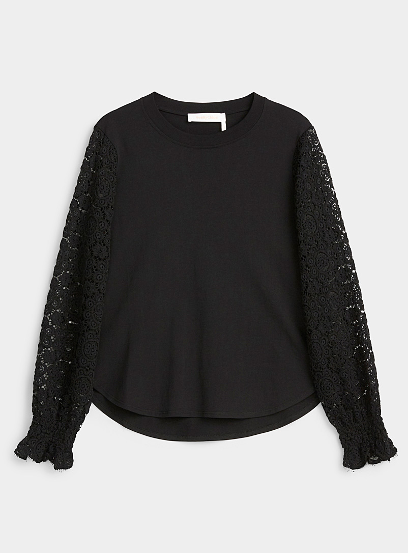 See by Chloé Black Floral guipure tee for women