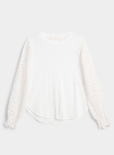 See by Chloé Ivory White Floral guipure tee for women