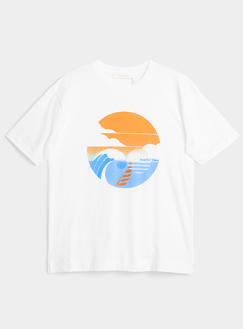 See by Chloé White Retro beach tee for women
