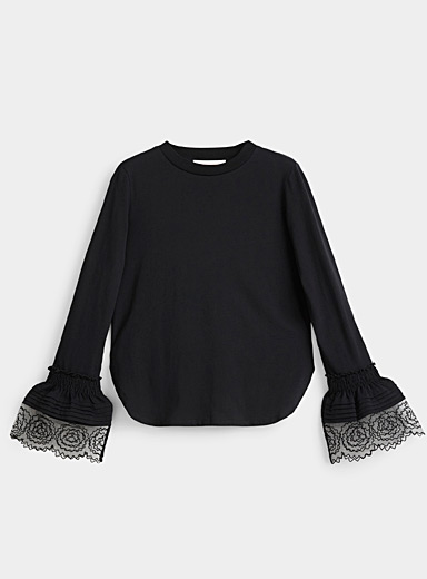 See by Chloé Black Scalloped lace accent tee for women