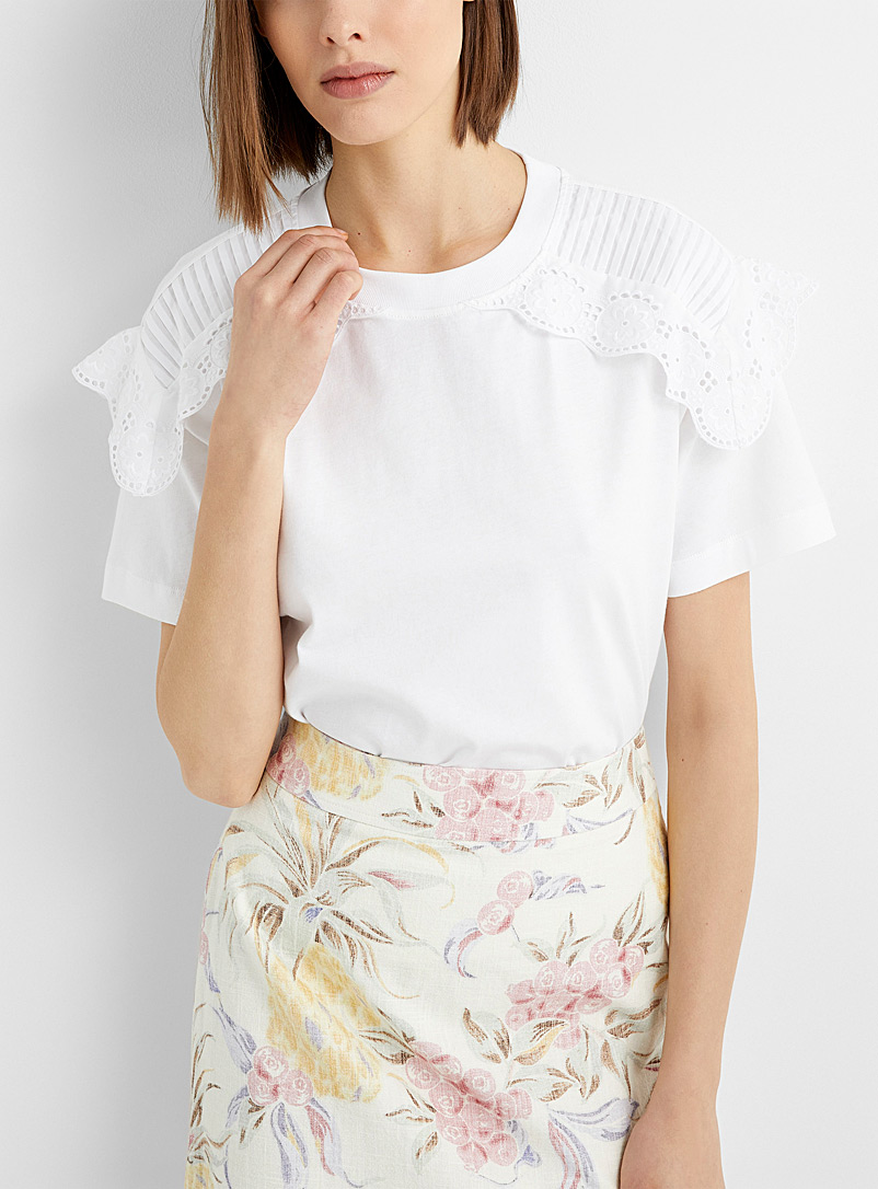 See by Chloé White Lace panel T-shirt for women