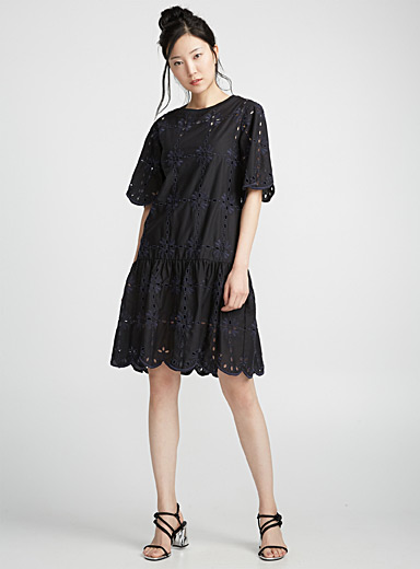 Ruffle and embroidery dress