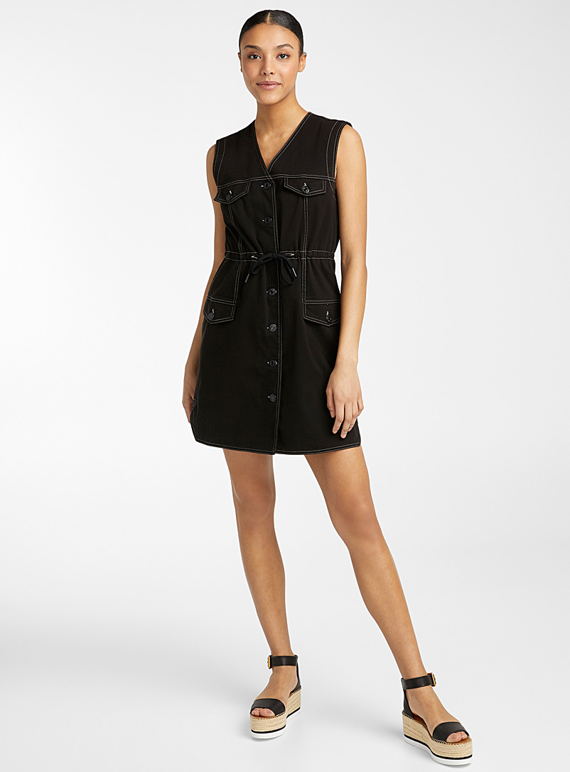 See by Chloé Black Denim gabardine dress for women