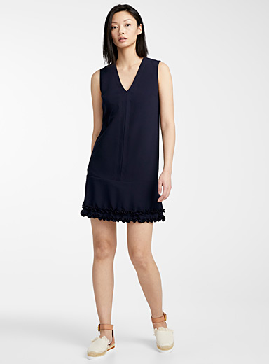 Midnight blue ruffle dress