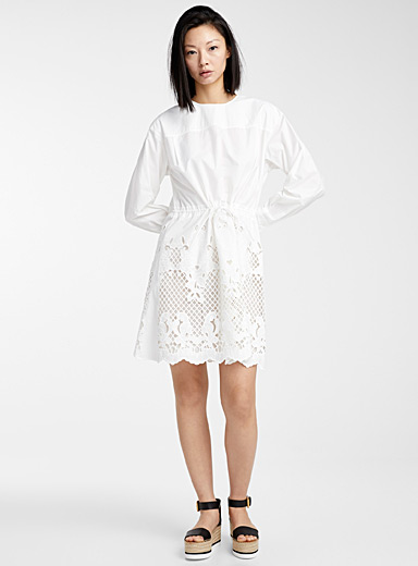 See by Chloé White Romantic embroidered dress for women