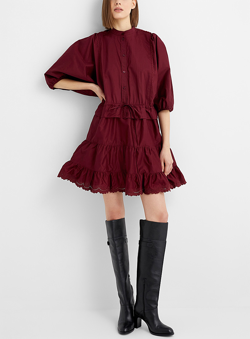See by Chloé Ruby Red Ruffled poplin dress for women