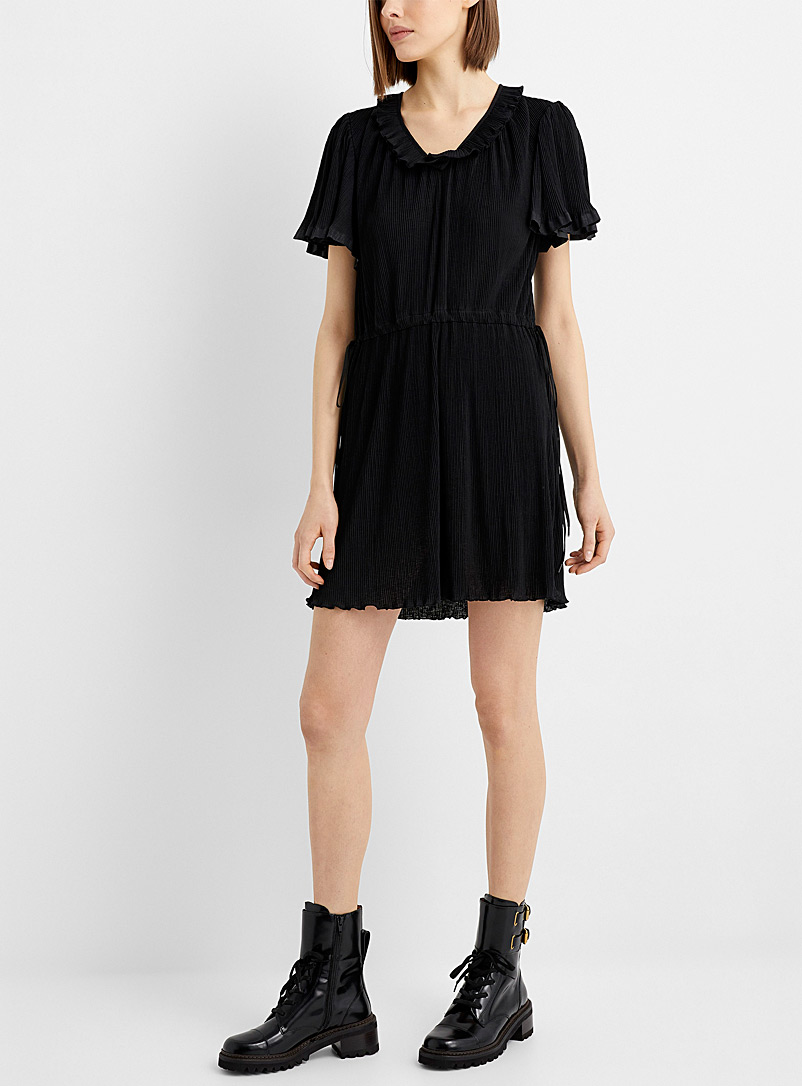 See by Chloé Black Pleated chiffon little black dress for women