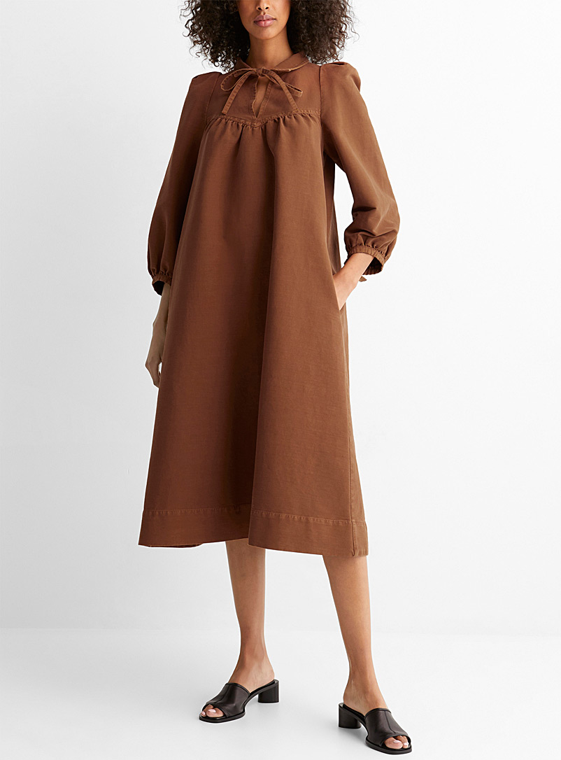 See by Chloé Toast Balloon-sleeve midi dress for women
